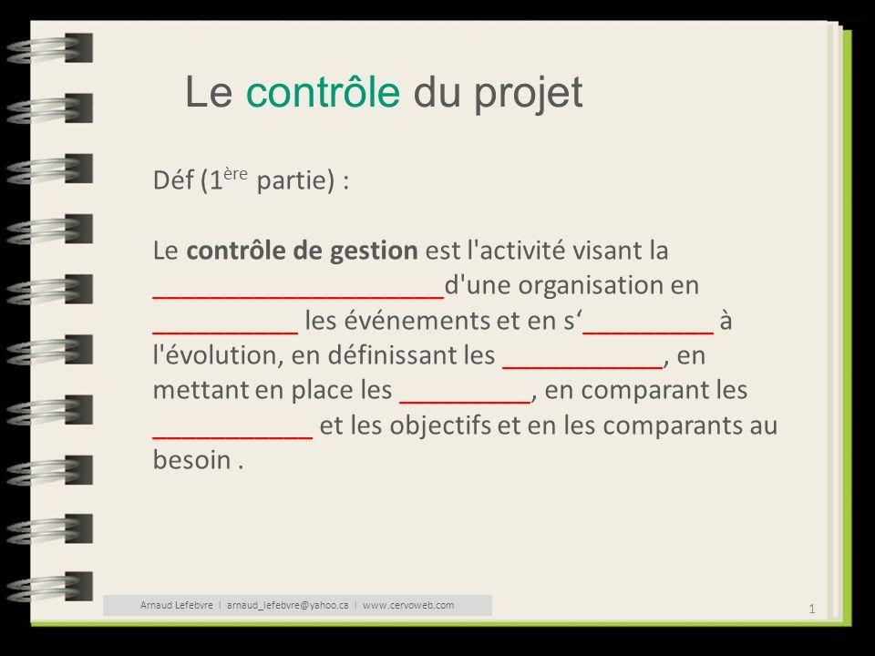 1 Le contrôle du projet Déf (1 ère partie) : Le contrôle de gestion est l'activité visant la ____________________d'une organisation en __________ les