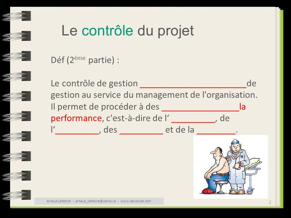 2 Le contrôle du projet Déf (2 ème partie) : Le contrôle de gestion ______________________de gestion au service du management de l'organisation. Il pe