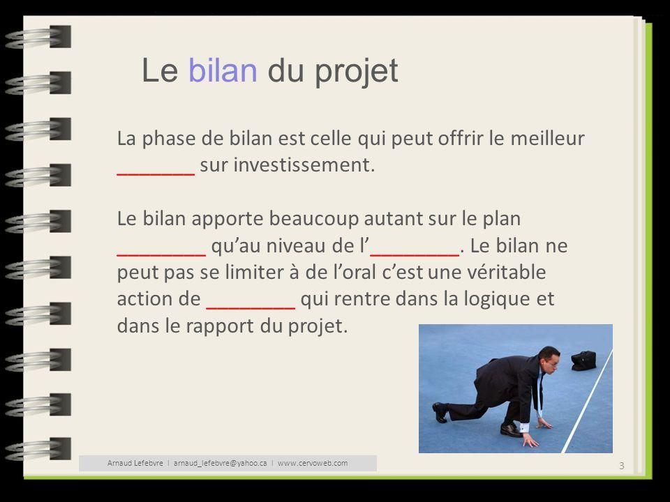 3 Le bilan du projet La phase de bilan est celle qui peut offrir le meilleur _______ sur investissement. Le bilan apporte beaucoup autant sur le plan
