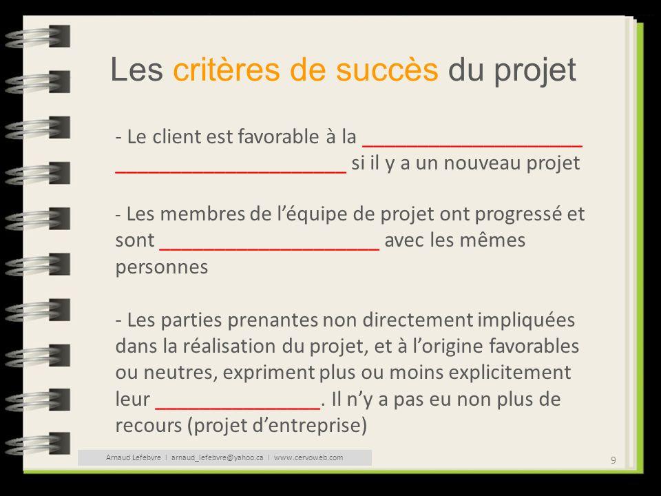 9 Les critères de succès du projet - Le client est favorable à la ____________________ _____________________ si il y a un nouveau projet - Les membres
