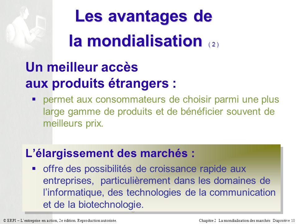 Chapitre 2 La mondialisation des marchés Diapositive 10 © ERPI – Lentreprise en action, 2e édition. Reproduction autorisée. Les avantages de la mondia