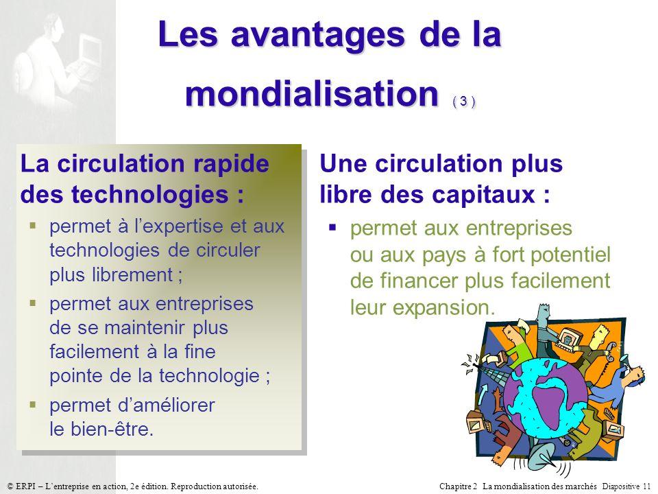 Chapitre 2 La mondialisation des marchés Diapositive 11 © ERPI – Lentreprise en action, 2e édition. Reproduction autorisée. Les avantages de la mondia