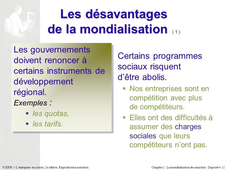Chapitre 2 La mondialisation des marchés Diapositive 12 © ERPI – Lentreprise en action, 2e édition. Reproduction autorisée. Les désavantages de la mon