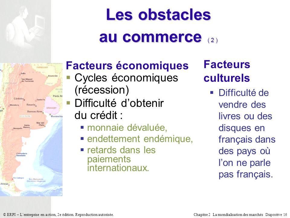 Chapitre 2 La mondialisation des marchés Diapositive 16 © ERPI – Lentreprise en action, 2e édition. Reproduction autorisée. Les obstacles au commerce