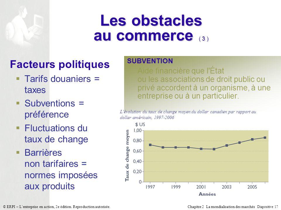 Chapitre 2 La mondialisation des marchés Diapositive 17 © ERPI – Lentreprise en action, 2e édition. Reproduction autorisée. Les obstacles au commerce