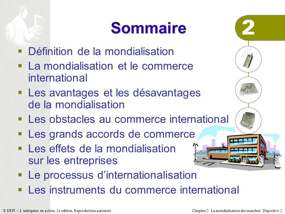 Chapitre 2 La mondialisation des marchés Diapositive 2 © ERPI – Lentreprise en action, 2e édition. Reproduction autorisée. Sommaire Définition de la m