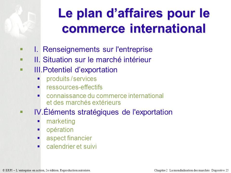 Chapitre 2 La mondialisation des marchés Diapositive 25 © ERPI – Lentreprise en action, 2e édition. Reproduction autorisée. Le plan daffaires pour le