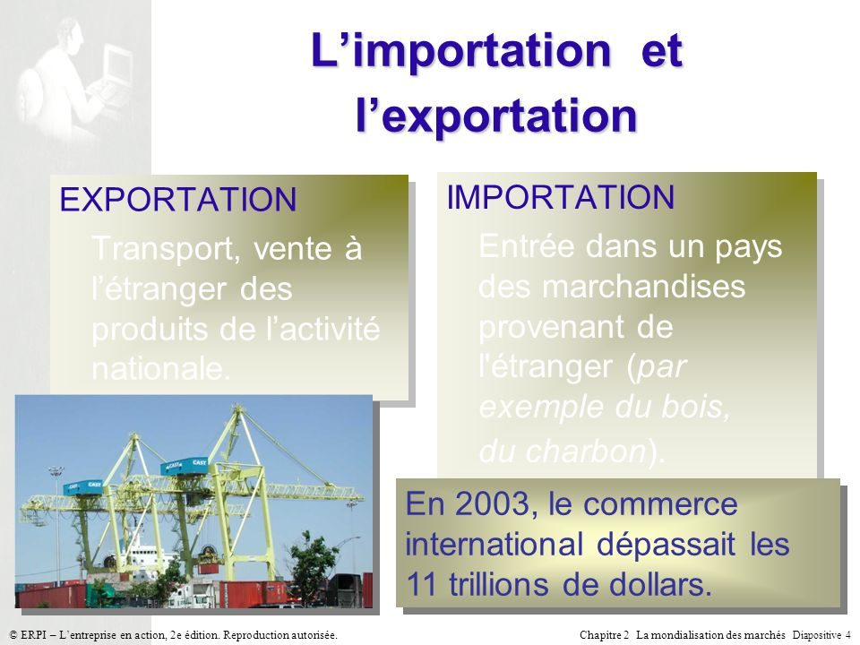 Chapitre 2 La mondialisation des marchés Diapositive 4 © ERPI – Lentreprise en action, 2e édition. Reproduction autorisée. Limportation et lexportatio