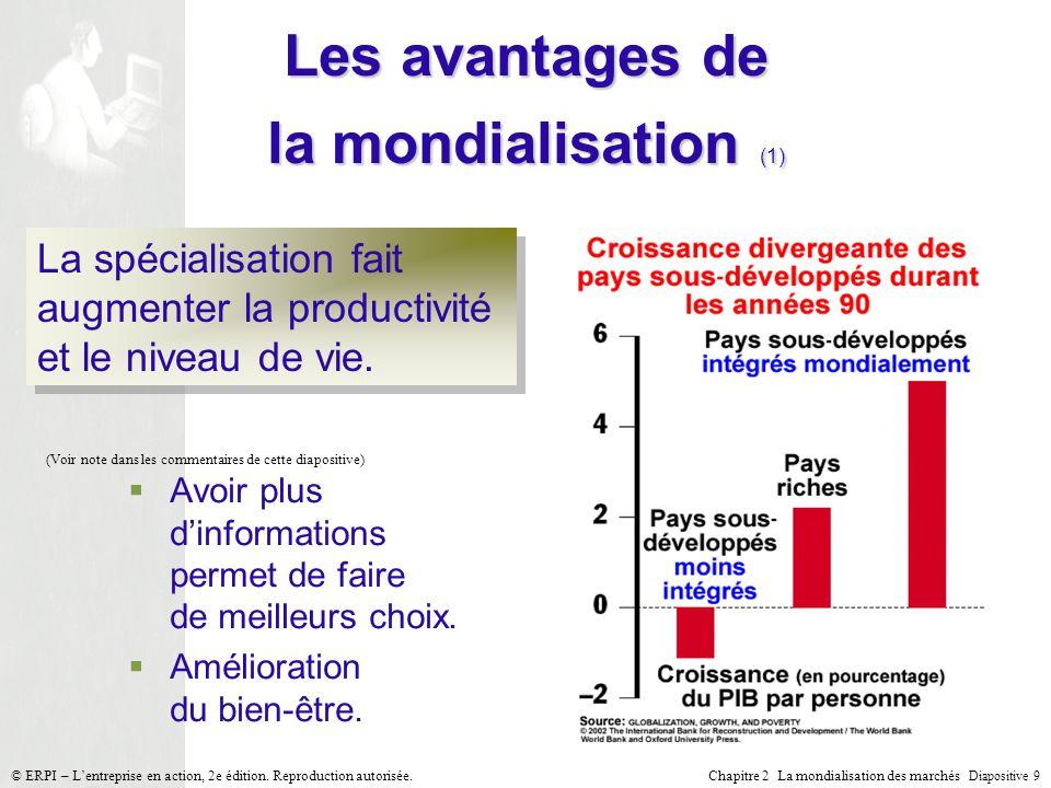 Chapitre 2 La mondialisation des marchés Diapositive 9 © ERPI – Lentreprise en action, 2e édition. Reproduction autorisée. La spécialisation fait augm