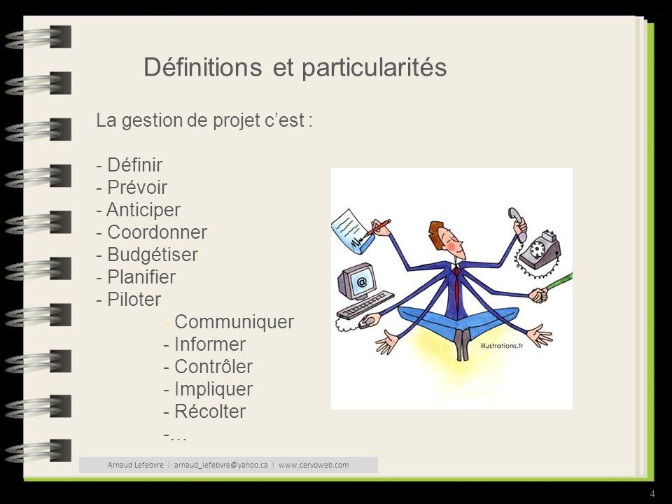 4 Définitions et particularités La gestion de projet cest : - Définir - Prévoir - Anticiper - Coordonner - Budgétiser - Planifier - Piloter - Communiquer - Informer - Contrôler - Impliquer - Récolter -… Arnaud Lefebvre l arnaud_lefebvre@yahoo.ca l www.cervoweb.com