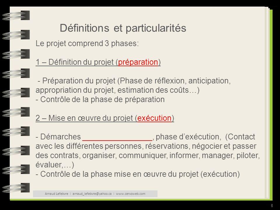 8 Définitions et particularités Le projet comprend 3 phases: 1 – Définition du projet (préparation) - Préparation du projet (Phase de réflexion, anticipation, appropriation du projet, estimation des coûts…) - Contrôle de la phase de préparation 2 – Mise en œuvre du projet (exécution) - Démarches ________________, phase dexécution, (Contact avec les différentes personnes, réservations, négocier et passer des contrats, organiser, communiquer, informer, manager, piloter, évaluer,…) - Contrôle de la phase mise en œuvre du projet (exécution) Arnaud Lefebvre l arnaud_lefebvre@yahoo.ca l www.cervoweb.com