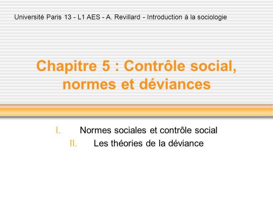 Chapitre 5 : Contrôle social, normes et déviances I.Normes sociales et contrôle social II.Les théories de la déviance Université Paris 13 - L1 AES - A