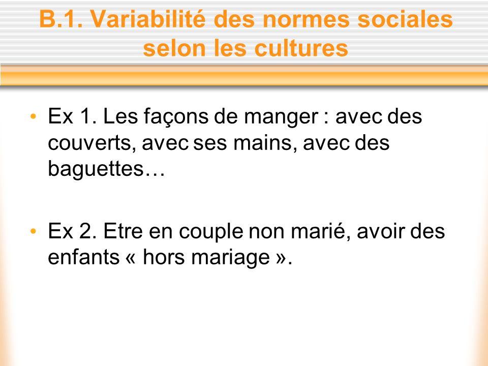 B.1. Variabilité des normes sociales selon les cultures Ex 1. Les façons de manger : avec des couverts, avec ses mains, avec des baguettes… Ex 2. Etre