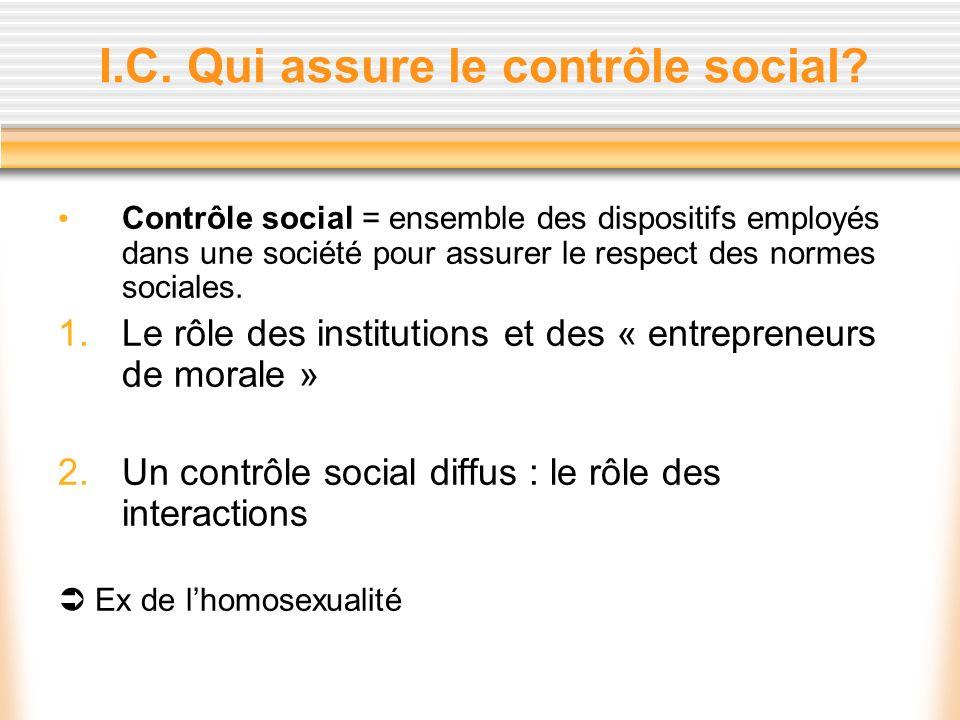I.C. Qui assure le contrôle social? Contrôle social = ensemble des dispositifs employés dans une société pour assurer le respect des normes sociales.