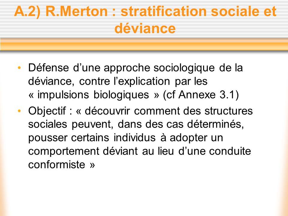 A.2) R.Merton : stratification sociale et déviance Défense dune approche sociologique de la déviance, contre lexplication par les « impulsions biologi