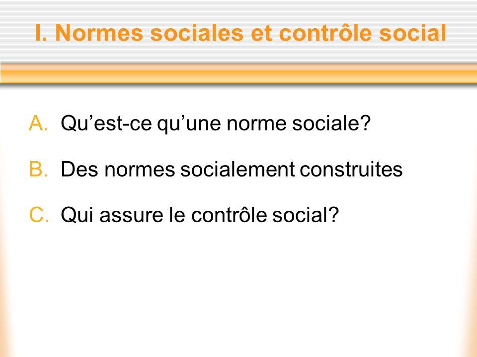 I. Normes sociales et contrôle social A.Quest-ce quune norme sociale? B.Des normes socialement construites C.Qui assure le contrôle social?
