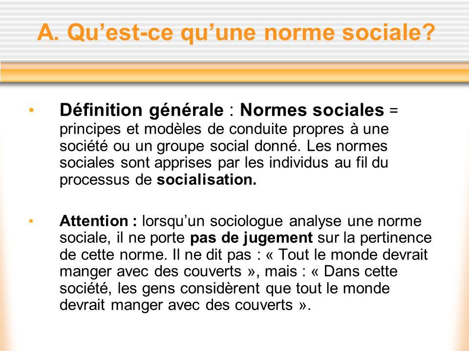 A. Quest-ce quune norme sociale? Définition générale : Normes sociales = principes et modèles de conduite propres à une société ou un groupe social do