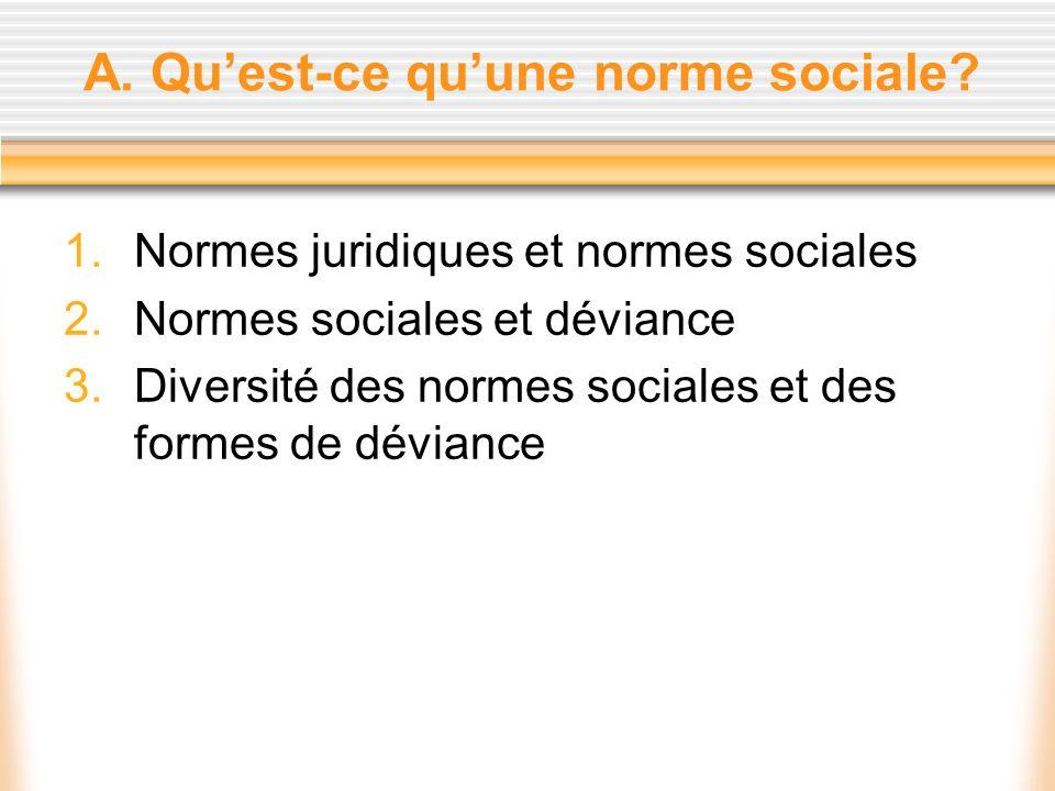 A. Quest-ce quune norme sociale? 1.Normes juridiques et normes sociales 2.Normes sociales et déviance 3.Diversité des normes sociales et des formes de