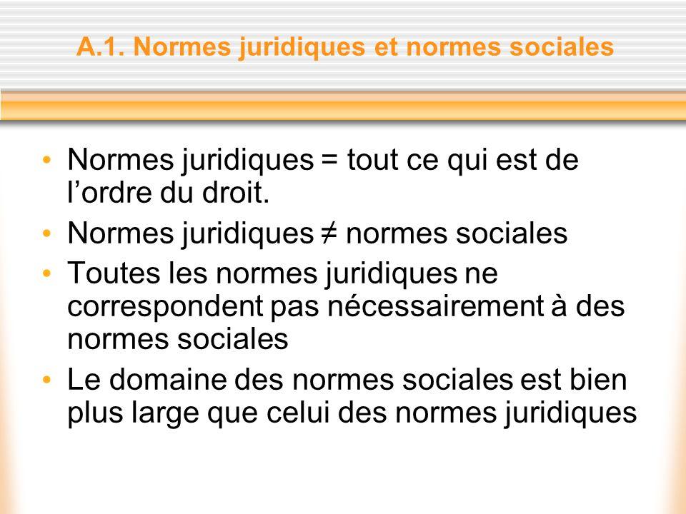 A.1. Normes juridiques et normes sociales Normes juridiques = tout ce qui est de lordre du droit. Normes juridiques normes sociales Toutes les normes
