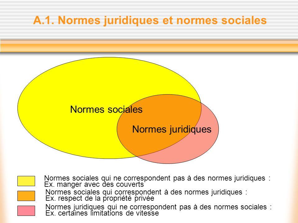 A.1. Normes juridiques et normes sociales Normes sociales Normes juridiques Normes sociales qui ne correspondent pas à des normes juridiques : Ex. man