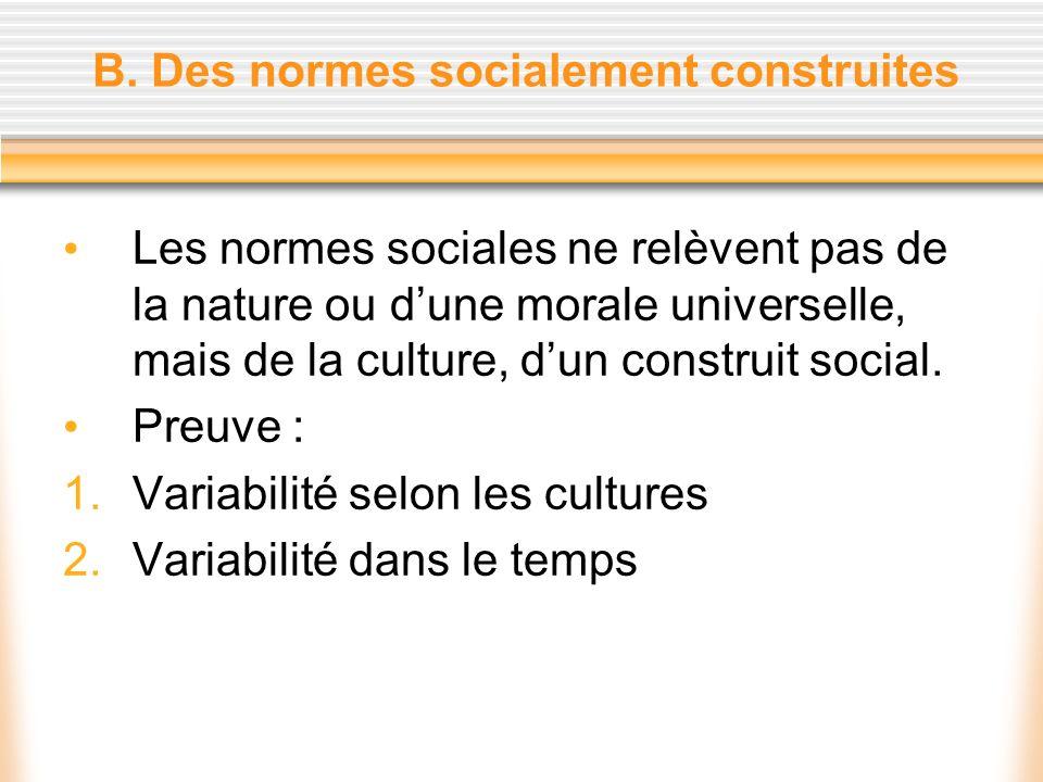 B. Des normes socialement construites Les normes sociales ne relèvent pas de la nature ou dune morale universelle, mais de la culture, dun construit s