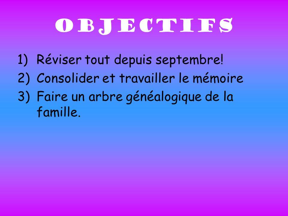 OBJECTIFS 1)Réviser tout depuis septembre.