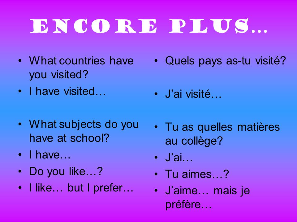 Encore plus… What countries have you visited? I have visited… What subjects do you have at school? I have… Do you like…? I like… but I prefer… Quels p