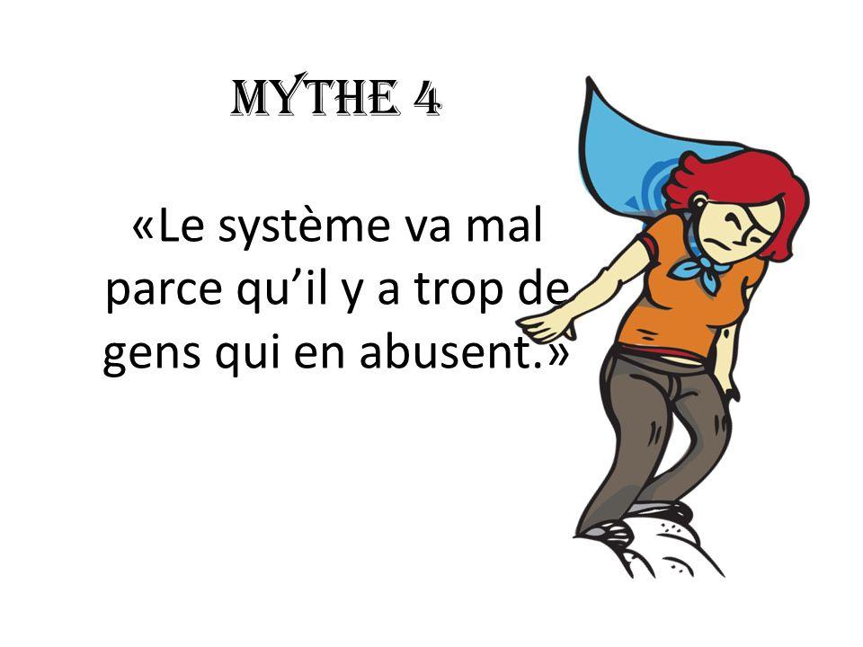 Mythe 4 «Le système va mal parce quil y a trop de gens qui en abusent.»