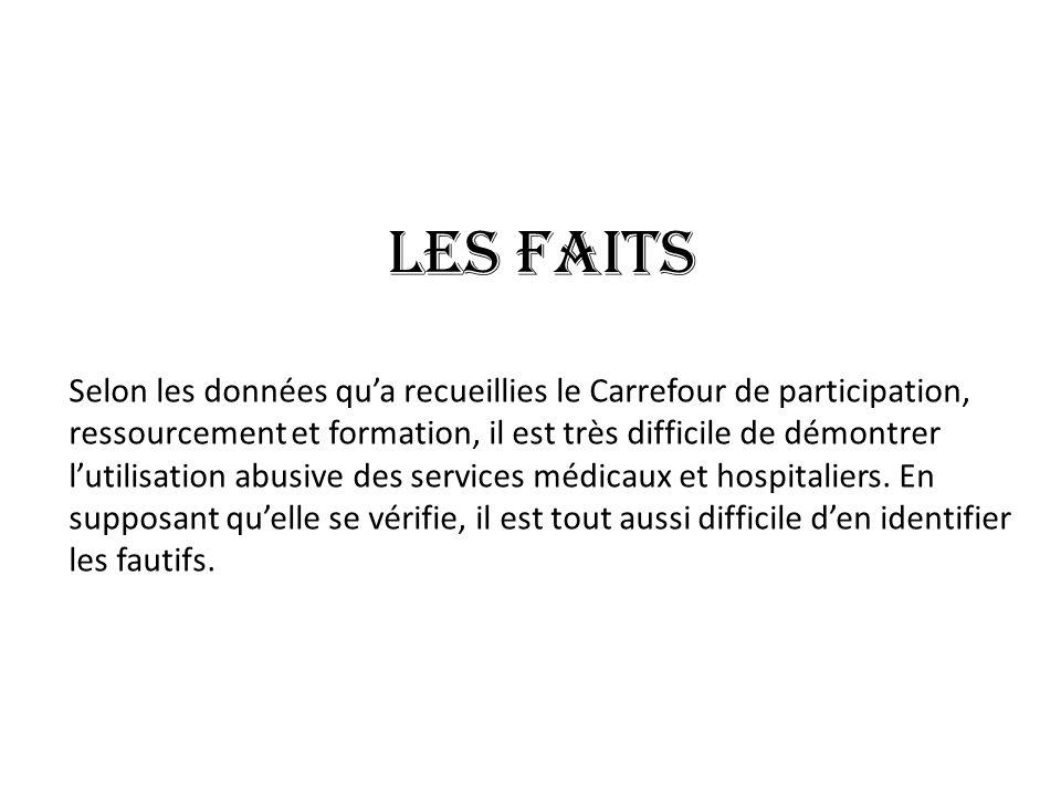 Les faits Selon les données qua recueillies le Carrefour de participation, ressourcement et formation, il est très difficile de démontrer lutilisation abusive des services médicaux et hospitaliers.
