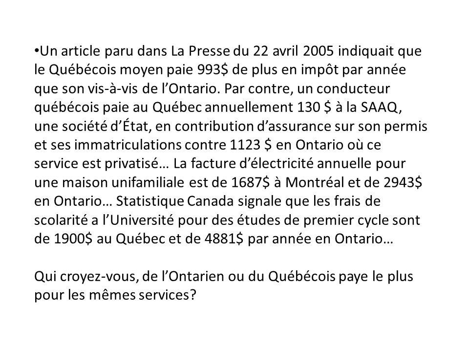 Un article paru dans La Presse du 22 avril 2005 indiquait que le Québécois moyen paie 993$ de plus en impôt par année que son vis-à-vis de lOntario.