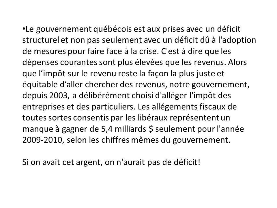 Le gouvernement québécois est aux prises avec un déficit structurel et non pas seulement avec un déficit dû à l adoption de mesures pour faire face à la crise.
