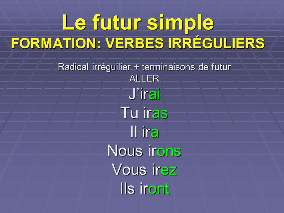 Le futur simple FORMATION: VERBES IRRÉGULIERS Radical irréguilier + terminaisons de futur ALLER Jirai Tu iras Il ira Nous irons Vous irez Ils iront