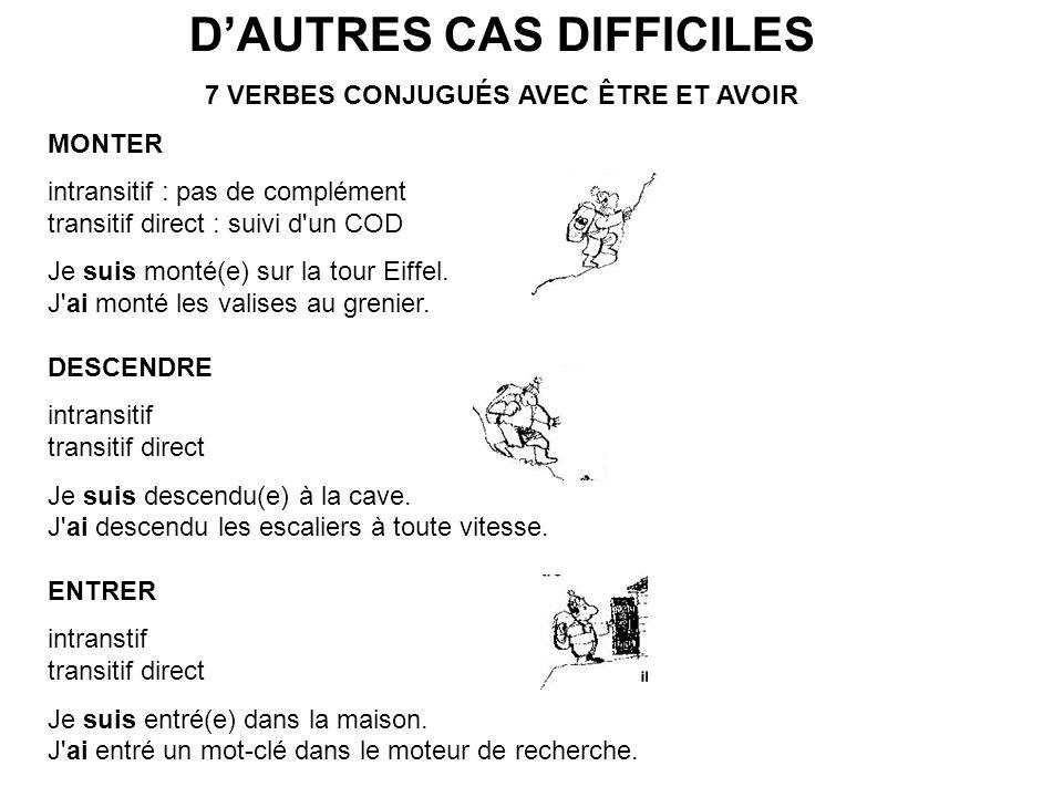 DAUTRES CAS DIFFICILES 7 VERBES CONJUGUÉS AVEC ÊTRE ET AVOIR MONTER intransitif : pas de complément transitif direct : suivi d'un COD Je suis monté(e)