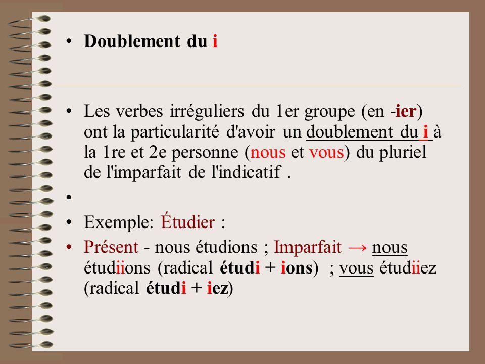 Doublement du i Les verbes irréguliers du 1er groupe (en -ier) ont la particularité d'avoir un doublement du i à la 1re et 2e personne (nous et vous)