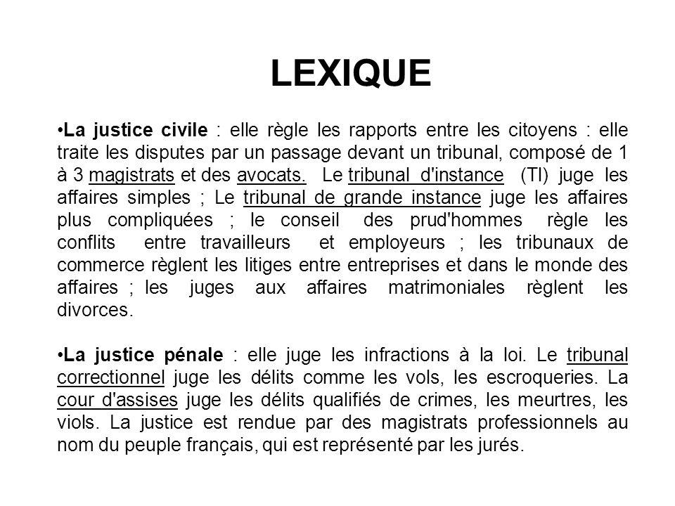LEXIQUE La justice civile : elle règle les rapports entre les citoyens : elle traite les disputes par un passage devant un tribunal, composé de 1 à 3