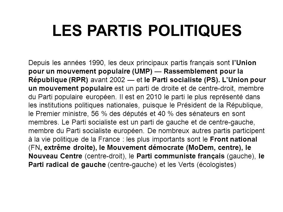 LES PARTIS POLITIQUES Depuis les années 1990, les deux principaux partis français sont lUnion pour un mouvement populaire (UMP) Rassemblement pour la
