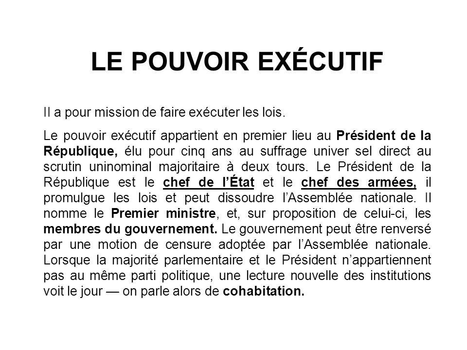 LEXIQUE Le chef de l État : dans le cas de la France, c est le président de la République ; il nomme le Premier ministre et les ministres sur proposition du Premier ministre.