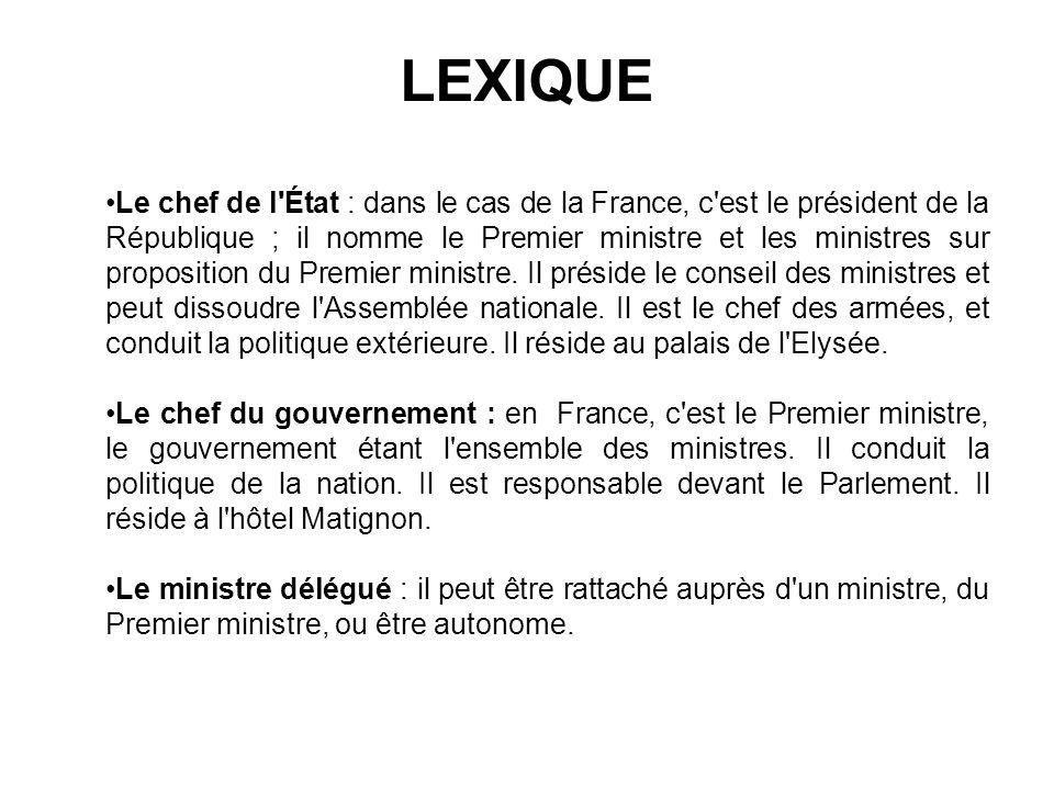 LEXIQUE Le chef de l'État : dans le cas de la France, c'est le président de la République ; il nomme le Premier ministre et les ministres sur proposit