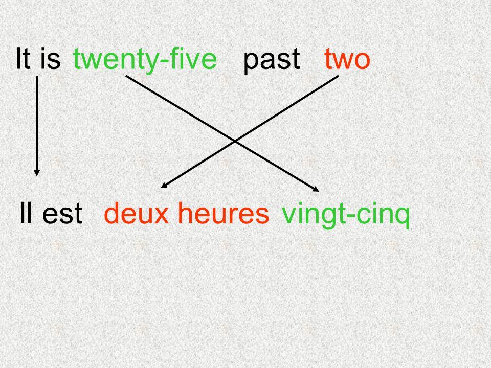 It is vingt-cinq twotwenty-fivepast Il estdeux heures