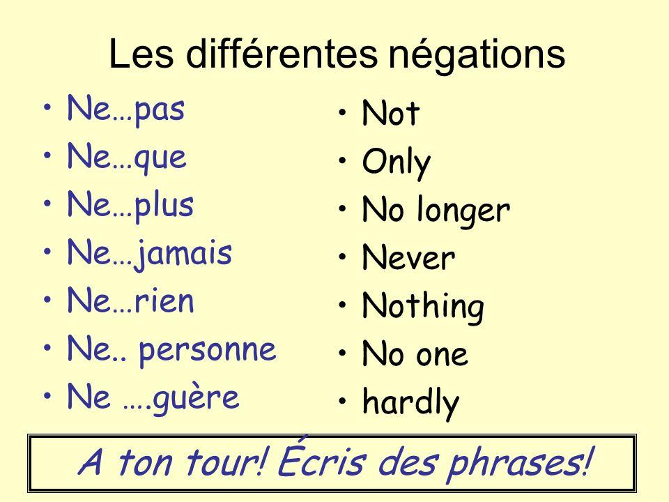 Les différentes négations Ne…pas Ne…que Ne…plus Ne…jamais Ne…rien Ne..