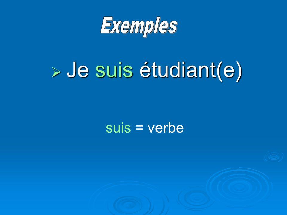 Je suis étudiant(e) Je suis étudiant(e) suis = verbe
