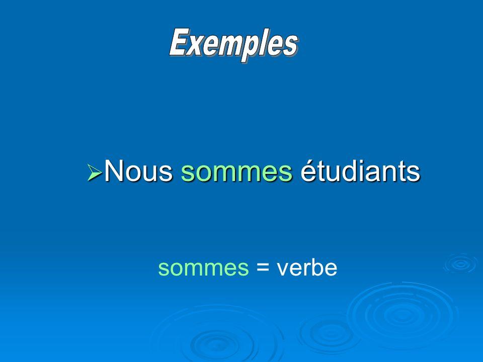Nous sommes étudiants Nous sommes étudiants sommes = verbe
