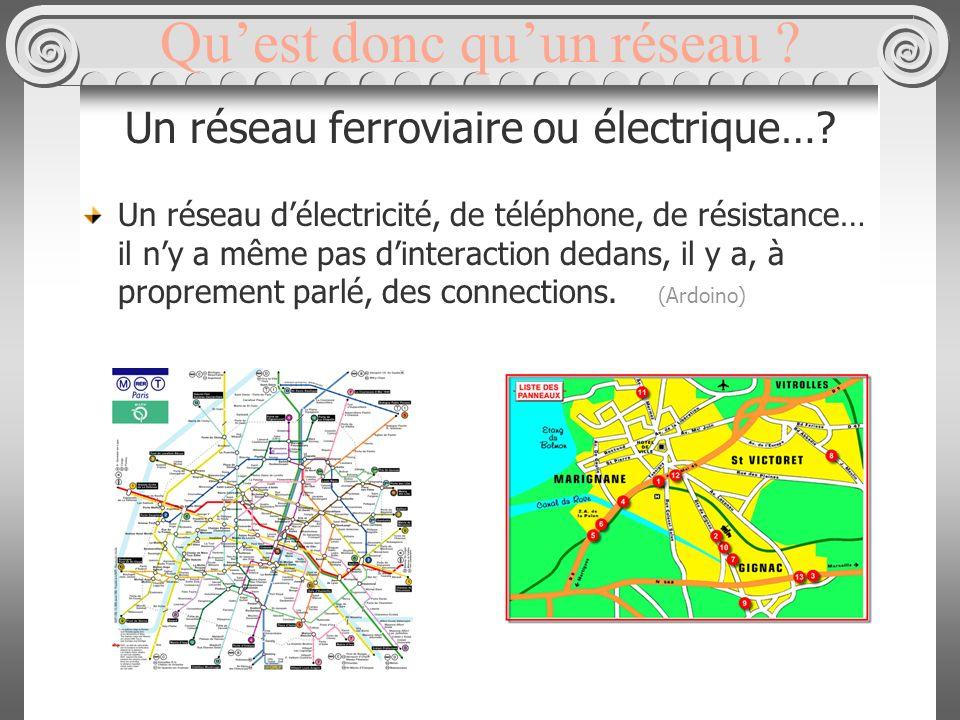Quest donc quun réseau . Un réseau ferroviaire ou électrique….