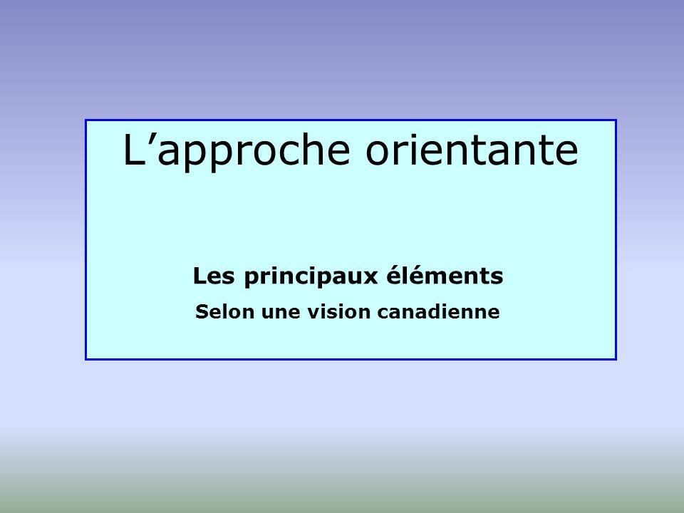 Lapproche orientante Les principaux éléments Selon une vision canadienne