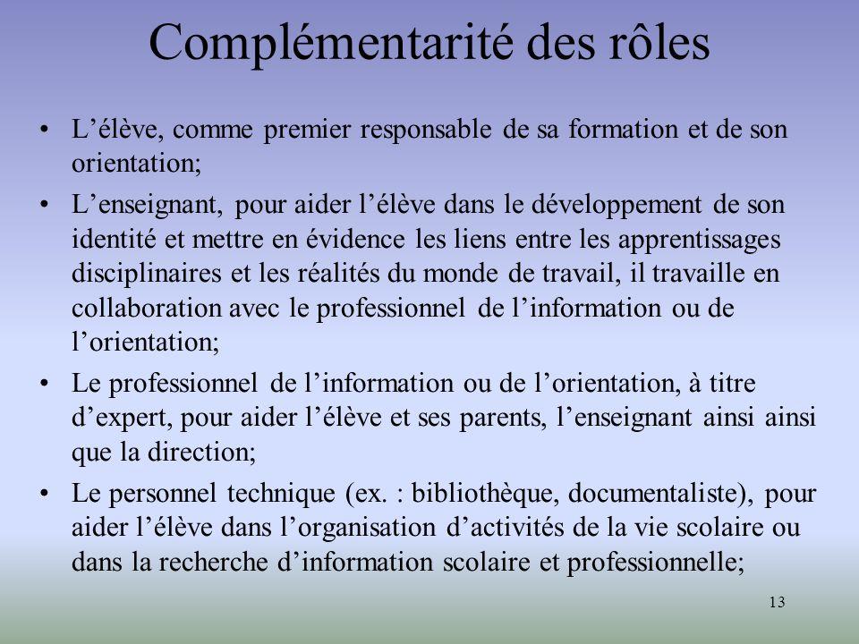 13 Complémentarité des rôles Lélève, comme premier responsable de sa formation et de son orientation; Lenseignant, pour aider lélève dans le développe