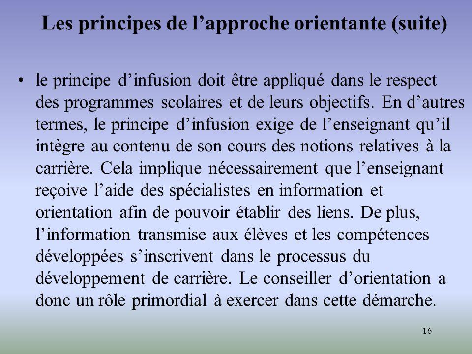16 Les principes de lapproche orientante (suite) le principe dinfusion doit être appliqué dans le respect des programmes scolaires et de leurs objecti