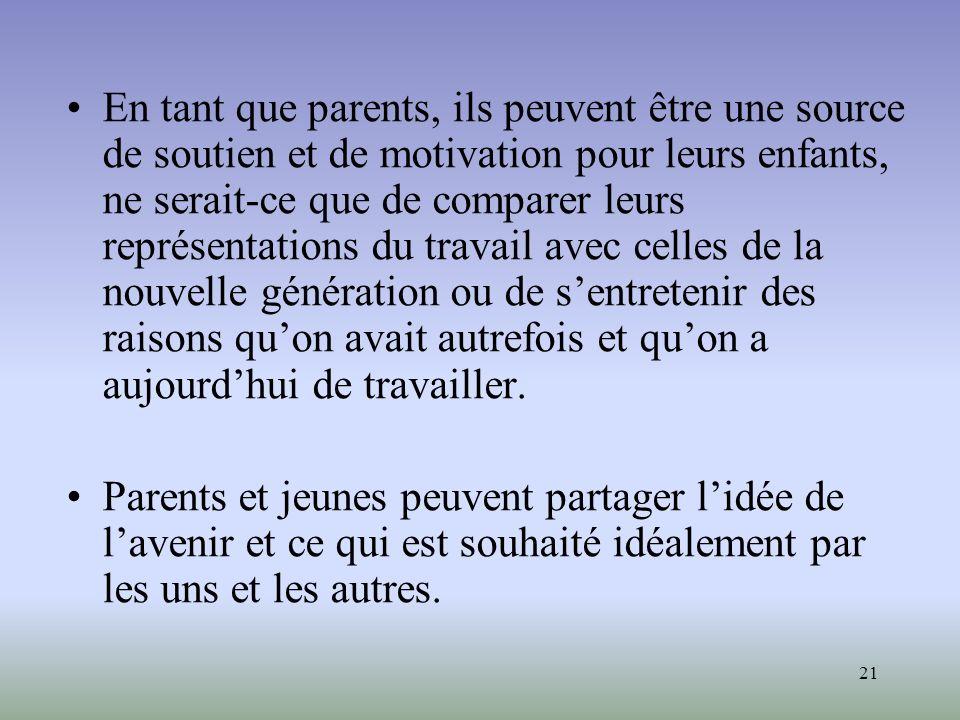 21 En tant que parents, ils peuvent être une source de soutien et de motivation pour leurs enfants, ne serait-ce que de comparer leurs représentations