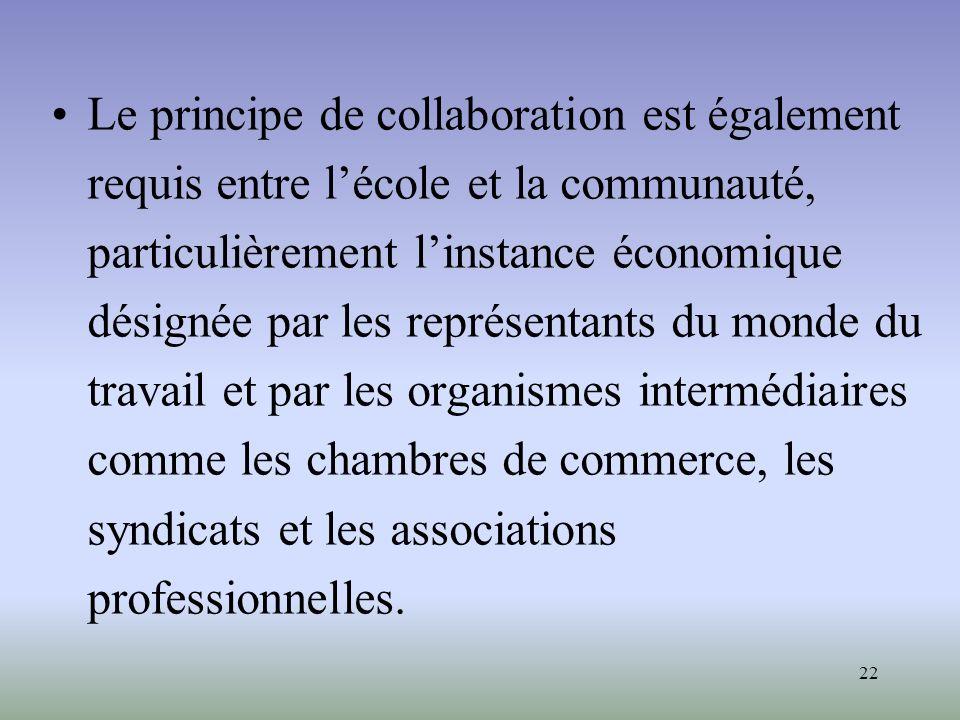 22 Le principe de collaboration est également requis entre lécole et la communauté, particulièrement linstance économique désignée par les représentan