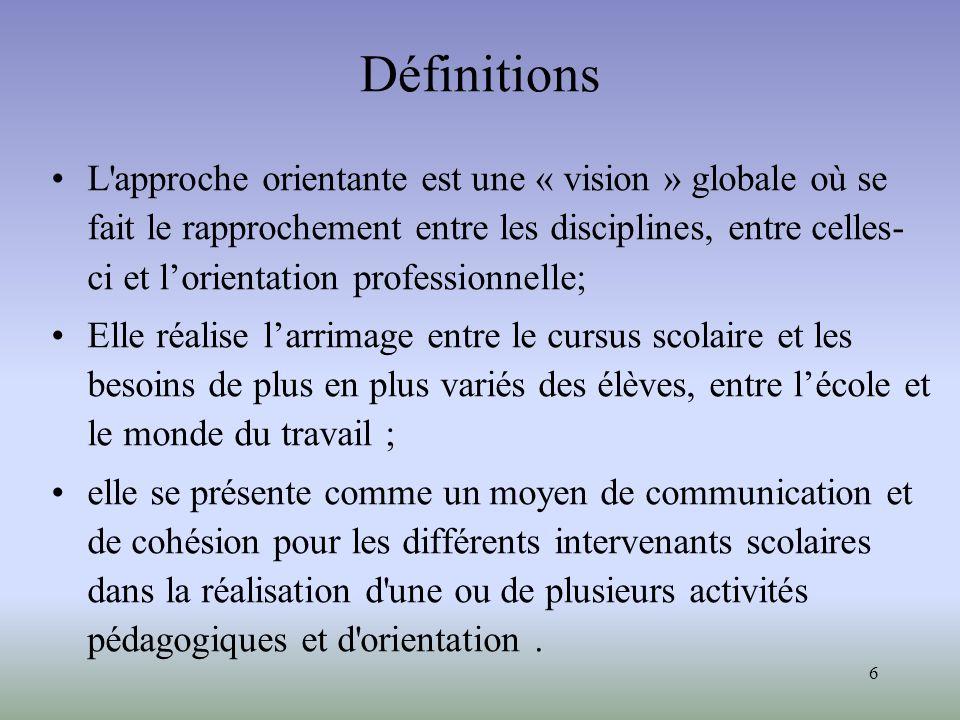 6 Définitions L'approche orientante est une « vision » globale où se fait le rapprochement entre les disciplines, entre celles- ci et lorientation pro