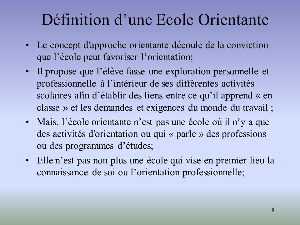 8 Définition dune Ecole Orientante Le concept d'approche orientante découle de la conviction que lécole peut favoriser lorientation; Il propose que lé